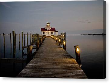 Roanoke Marshes Lighthouse Canvas Print by David Sutton