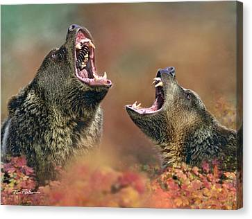 Roaring Bears Canvas Print