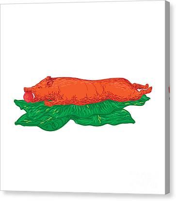 Roast Pig Lechon Banana Leaves Drawing Canvas Print