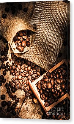 Roasted Coffee Beans In Drawer And Bags On Table Canvas Print