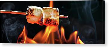 Roasting Marshmallows Over Campfire Horizontal Banner Canvas Print by Susan Schmitz