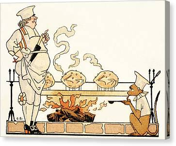 Roasting On A Spit Canvas Print by Georges Barbier