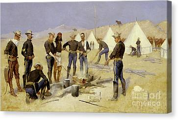Roasting The Christmas Beef In A Cavalry Camp, 1892 Canvas Print by Frederic Remington