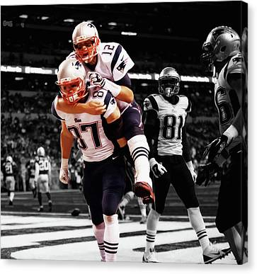 Tebow Canvas Print - Rob Gronkowski And Tom Brady by Brian Reaves
