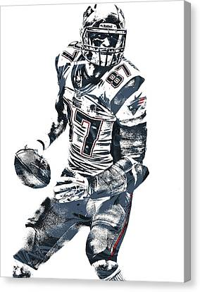Rob Gronkowski New England Patriots Pixel Art 2 Canvas Print by Joe Hamilton