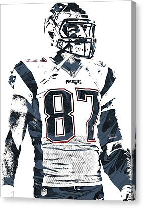Rob Gronkowski New England Patriots Pixel Art 3 Canvas Print by Joe Hamilton