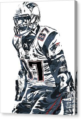 Rob Gronkowski New England Patriots Pixel Art 4 Canvas Print by Joe Hamilton