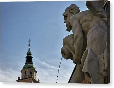 Canvas Print featuring the photograph Robba Fountain - Ljubljana Slovenia by Stuart Litoff