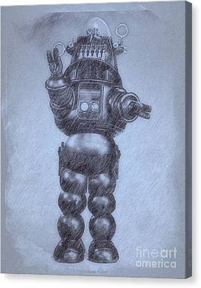 Robbie The Robot From Forbidden Planet By John Springfield Canvas Print