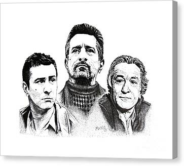 Robert De Niro Pen And Ink Drawing In Black And White Canvas Print by Mario Perez
