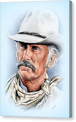Robert Duvall As Gus Mccrae Canvas Print by Andrew Read