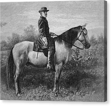 Patriots Canvas Print - Robert E Lee On His Horse Traveler by American School