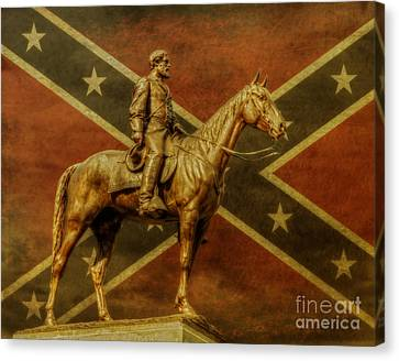 Robert E Lee Statue Gettysburg Canvas Print by Randy Steele