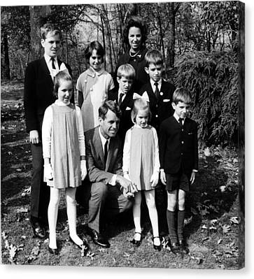 Robert F. Kennedy And Family, Top, L-r Canvas Print by Everett