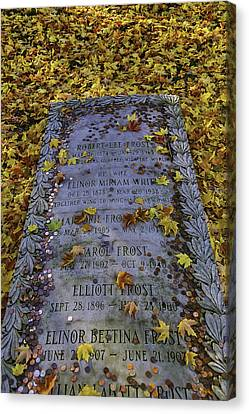 Graveyard Canvas Print - Robert Frosts Grave by Garry Gay
