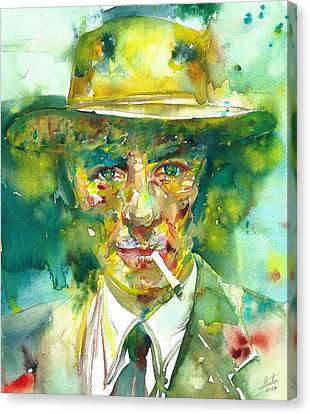 Canvas Print featuring the painting Robert Oppenheimer - Watercolor Portrait.2 by Fabrizio Cassetta