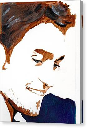 Canvas Print featuring the painting Robert Pattinson 14 by Audrey Pollitt