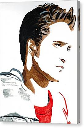 Canvas Print featuring the painting Robert Pattinson 17 by Audrey Pollitt