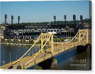 Roberto Clemente Bridge And Pnc Park Pittsburgh Pennsylvania Canvas Print by Amy Cicconi