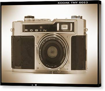 Sepia Tone Canvas Print - Robin 35mm Rangefinder Camera by Mike McGlothlen
