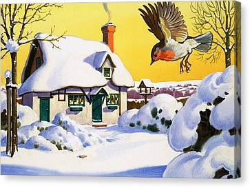 Robin Flying In The Snow Canvas Print by English School