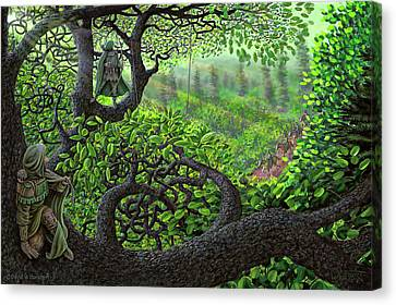Canvas Print featuring the painting Robin Hood by Dave Luebbert