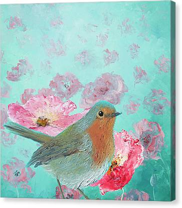 Robin In A Field Of Poppies Canvas Print by Jan Matson