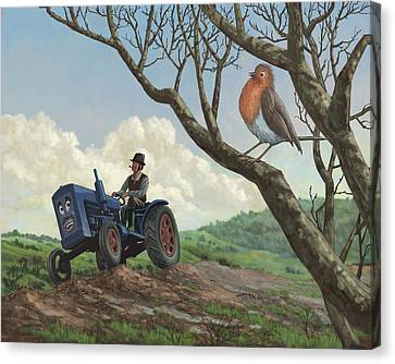 Robin In Field Looking At Farmer Canvas Print by Martin Davey