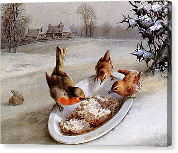 Wren Canvas Print - Robins And Wrens  Winter Breakfast by Harry Bright