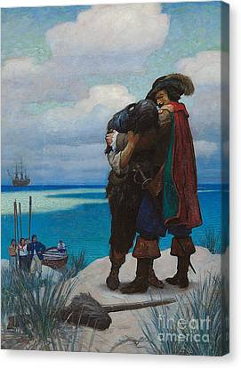 Robinson Crusoe Saved Canvas Print by Newell Convers Wyeth