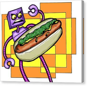 Robo V. Hotdog Canvas Print by Christopher Capozzi