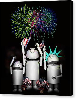 Robo-x9 And Family Celebrate Freedom Canvas Print