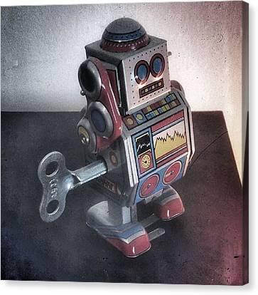 #robot #cyber #cyborg #steampunk Canvas Print