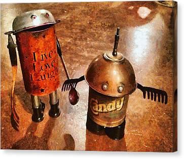 Teapot Canvas Print - Robot Kids by Leonardo Digenio