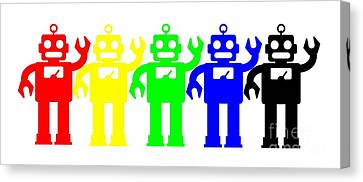 Robot Lives Matter Rainbow Tee Canvas Print by Edward Fielding