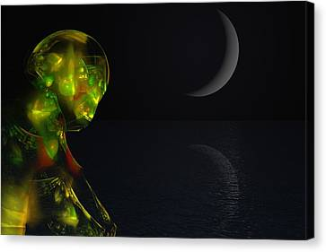 Robot Moonlight Serenade Canvas Print by David Lane