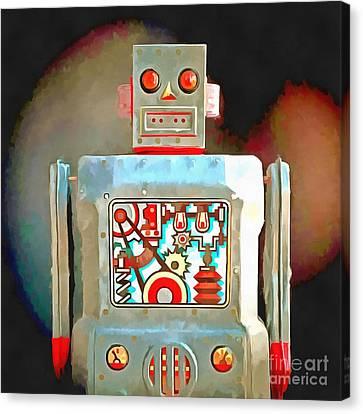 Robot Pop Art R-1 Canvas Print by Edward Fielding