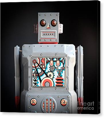 Bed Spread Canvas Print - Robot R-1 Square by Edward Fielding