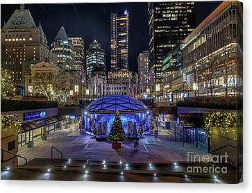 Vancouver At Night Canvas Print - Robson Square At Night by Victor Andre