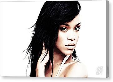 Rihanna Canvas Print - Robyn Rihanna Fenty by The DigArtisT
