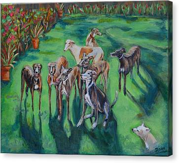 Rescued Greyhound Canvas Print - Rochelle's Pack by Diane Hagg