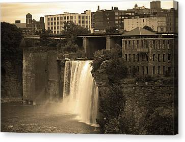 Canvas Print featuring the photograph Rochester, New York - High Falls 2 Sepia by Frank Romeo
