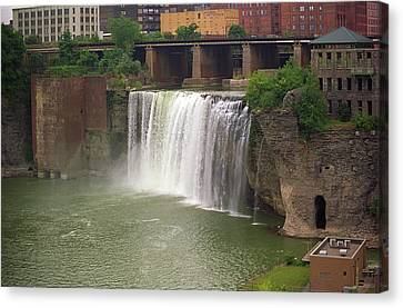 Canvas Print featuring the photograph Rochester, New York - High Falls by Frank Romeo