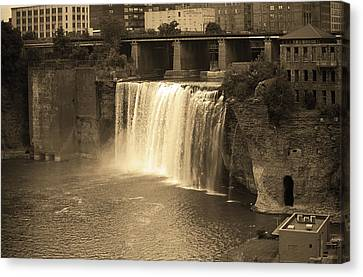 Canvas Print featuring the photograph Rochester, New York - High Falls Sepia by Frank Romeo
