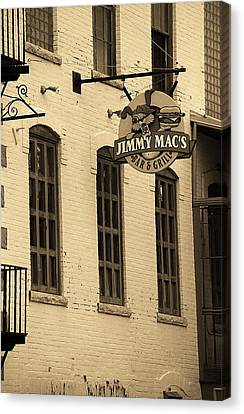 Canvas Print featuring the photograph Rochester, New York - Jimmy Mac's Bar 3 Sepia by Frank Romeo