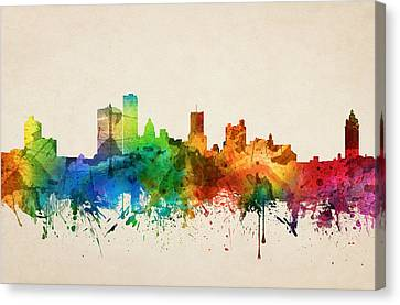 Rochester New York Skyline 05 Canvas Print by Aged Pixel