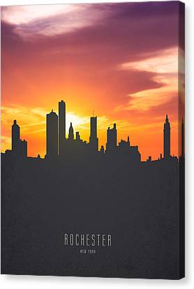 Rochester New York Sunset Skyline 01 Canvas Print by Aged Pixel