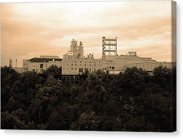 Canvas Print featuring the photograph Rochester, Ny - Factory On A Hill Sepia by Frank Romeo