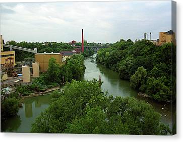 Rochester, Ny - Genesee River 2005 Canvas Print by Frank Romeo