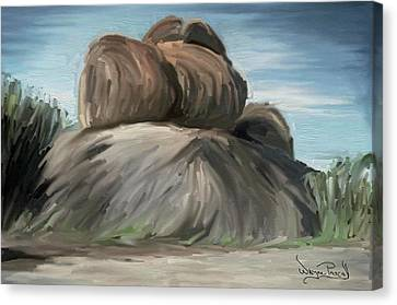 Canvas Print featuring the painting Rock Adventure by Wayne Pascall